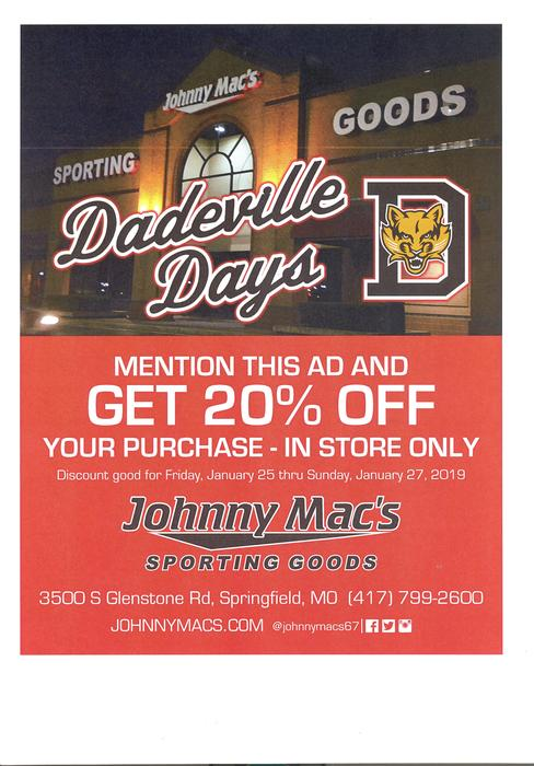 DADEVILLE DAYS! TAKE ADVANTAGE OF 20% YOUR PURCHASE JAN. 25-JAN-27